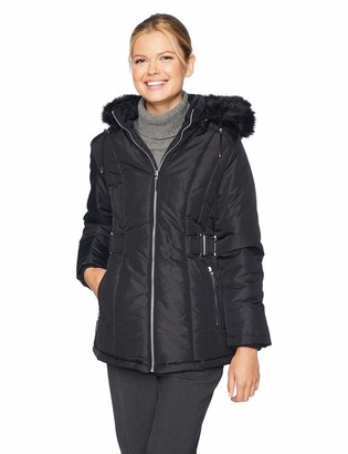 Details Women's Cinchable-Waist Coat with Cozy-Trimmed Hood
