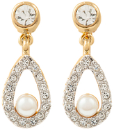 Susan Caplan Vintage Nina Ricci 22ct Gold Plated Faux Pearl Swarovski Crystal Clip-On Drop Earrings, Gold