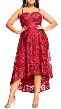 City Chic Plus Embroidered High/Low Dress