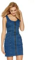 Quiz Zip Front Denim Pinafore Dress