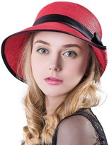 Siggi Ladies Floppy Summer Sun Beach Panama Straw Hats SPF Foldable Bucket Cloche Hat 56-59cm Red