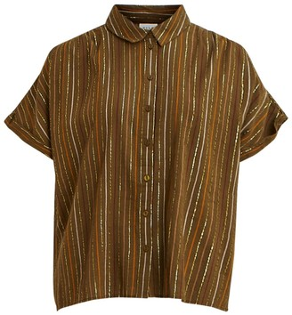 Vila Striped Cotton Mix Blouse with Short Sleeves