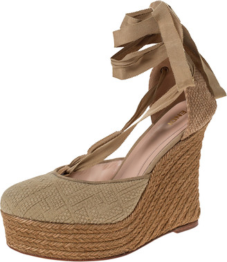 Fendi Beige Monogram Canvas And Jute Espadrille Wedge Ankle Wrap Platform Sandals Size 40
