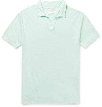 Officine Generale Simon Slim-Fit Garment-Dyed Linen Polo Shirt