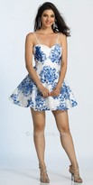Dave and Johnny Watercolor Lace Sweetheart Fit and Flare Cocktail Dress