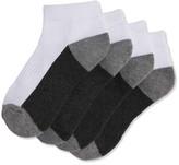 Joe Fresh Kid Boys' 4 Pack Sport Ankle Socks, White (Size 11-2)