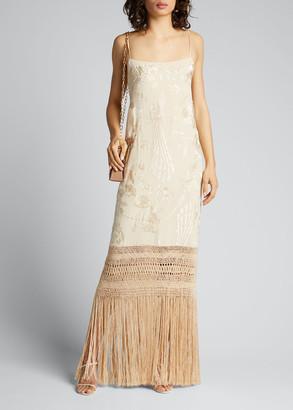 Johanna Ortiz Palm Gold Embroidered Silk Dress w/ Fringe Hem