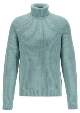 HUGO BOSS Virgin Wool Roll Neck Sweater With Diagonal Ribbing - Light Green