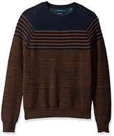 Perry Ellis Men's Textured Stripe Crew Sweater