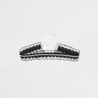 River Island Black diamante frill lace choker