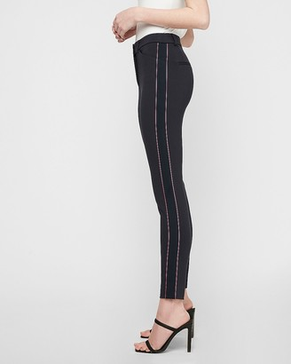 Express Mid Rise Striped Side Skinny Pant
