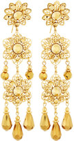 Jose & Maria Barrera Golden Filigree Flower Triple-Drop Earrings