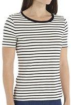 Three Dots Women's Short Sleeve Stripe Crew Neck Top