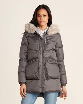 DKNY Faux Fur-Trimmed Puffer Coat