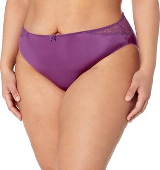 Arabella Women's Plus Size Hi Cut Lace Back Panty 3 Pack