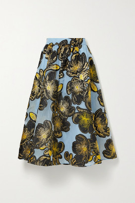 Stine Goya Laila Metallic Floral-jacquard Midi Skirt - Light blue