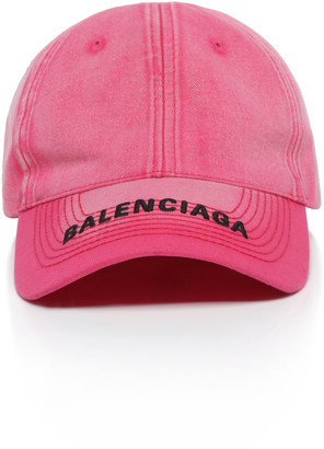 Balenciaga Women's Embroidered Cotton-Twill Baseball Cap - Pink/black - Moda Operandi