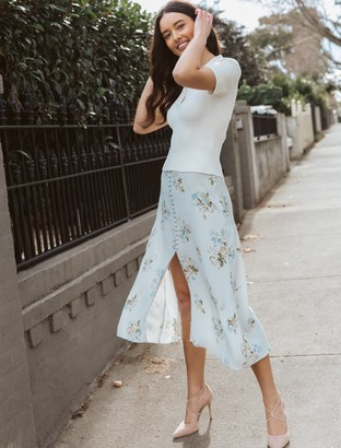 Ever New Stella Button-Front Midi Skirt