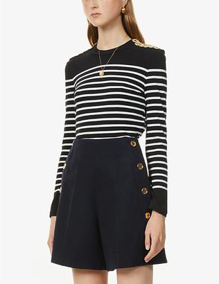 Claudie Pierlot Togold striped cotton-jersey top