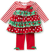 Bonnie Jean Bonnie Baby Baby Girls Newborn-24 Months Christmas Mixed-Media Dress and Solid Leggings Set