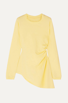 MM6 MAISON MARGIELA Asymmetric Ruched Cotton-jersey Top - Pastel yellow