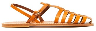 K. Jacques Adrien Caged Leather Slingback Sandals - Womens - Tan
