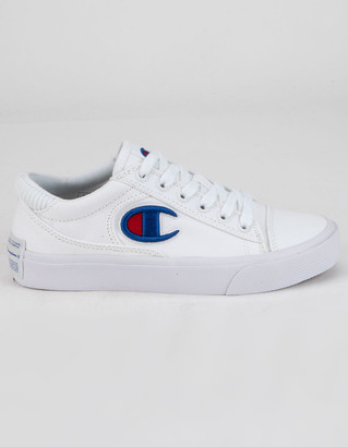 Champion Fringe Lo Girls White Canvas Sneakers