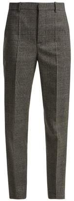 Balenciaga Prince Of Wales Check Wool Trousers - Womens - Grey Multi