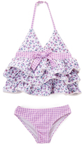 Beach Rays Purple & White Floral & Gingham Lily Tankini Set - Toddler