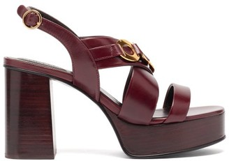 See by Chloe Chain-link Leather Platform Sandals - Burgundy