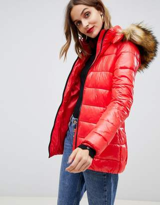 Gianni Feraud quilted jacket with faux fur hood-Red