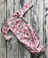 Pink & White Floral Knotted Gown - Infant