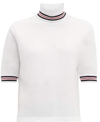Thom Browne Striped Cotton-pique Roll-neck T-shirt - Womens - White