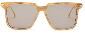 Bottega Veneta D-frame Acetate And Metal Sunglasses - Mens - Brown