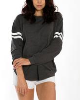 Heather Charcoal & White Stripe Oversize Crewneck Sweater