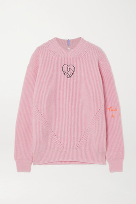 McQ Embroidered Appliqued Wool And Cashmere-blend Sweater - Pink
