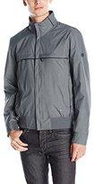 HUGO BOSS BOSS Green Men's Herringbone Technical Bomber Jacket with Leather Details