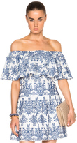 Nicholas Off Shoulder Top in Blue & White