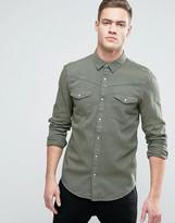 Pull&bear Regular Fit Western Denim Shirt In Khaki