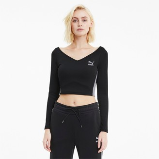 Puma Women's Classics Ribbed Long-Sleeve Crop Top
