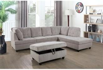 Latitude Run Aveona 112'' Sofa & Chaise with Ottoman Orientation: Right Hand Facing
