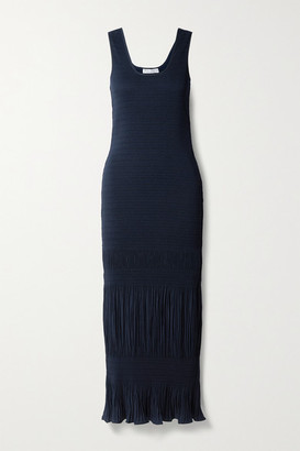 J.W.Anderson Shirred Plisse-crepe Maxi Dress - Navy