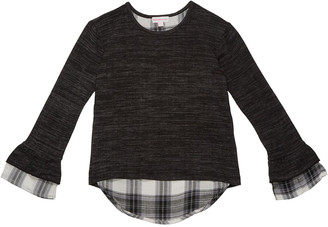 Design History Girls Girl's Heathered Plaid Trim Top, Size S-XL