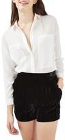 Topshop Women's Velvet Frill Shorts