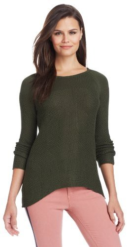 Design History Women's Texured Stitch and Rib Back Zipper Sweater