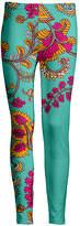 Lily Women's Leggings TRQ - Turquoise & Pink Floral Leggings - Women & Plus