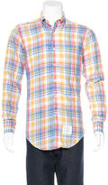 Thom Browne Linen Plaid Woven Shirt