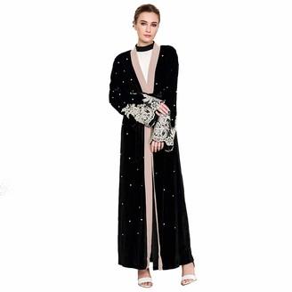 Jqjpjosie PJOS8 Fashion Loose Robe Long-Sleeved Lace Stitching Gold Velvet Women's Cardigan Robe