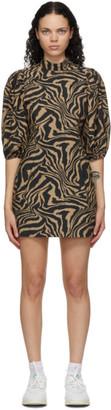 Ganni Brown and Black Turtleneck Dress