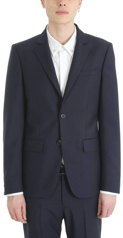 Givenchy Two-button Dress In Blue Wool